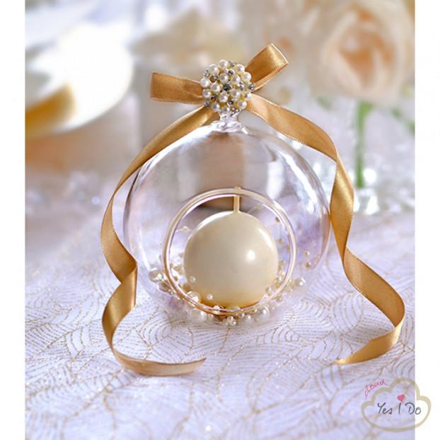 4 GLASS BALLS - CANDLEHOLDER
