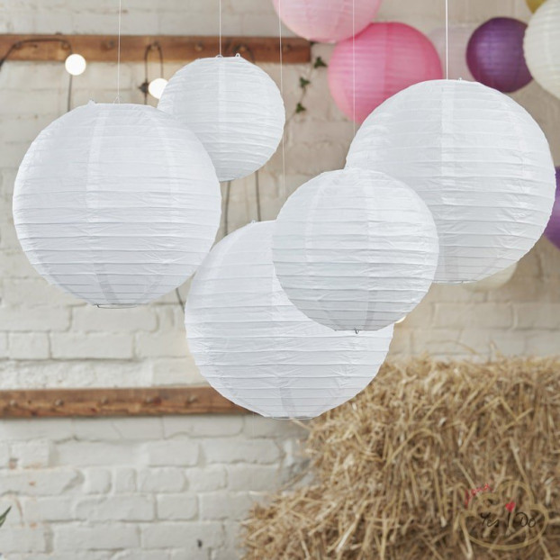 5 WHITE PAPER LANTERN DECORATIONS
