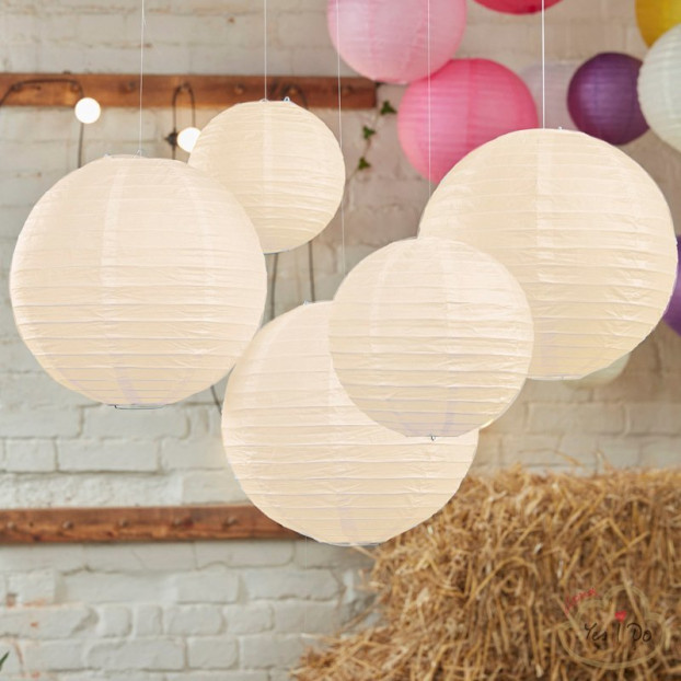 5 IVORY PAPER LANTERN DECORATIONS