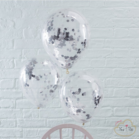 5 SILVER CONFETTI FILLED BALLOONS