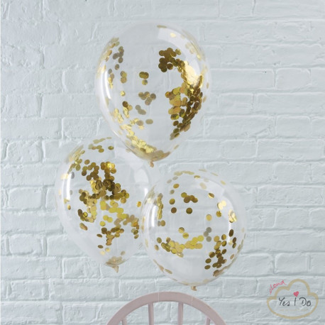 5 GOLD CONFETTI FILLED BALLOONS
