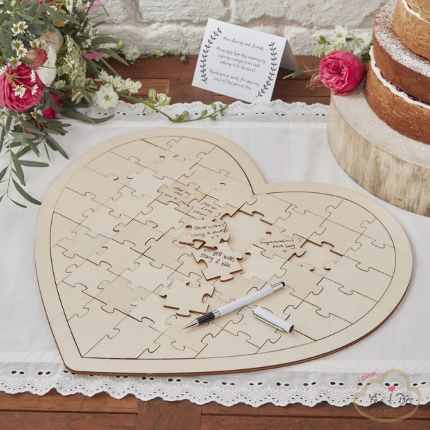 WOODEN JIGSAW GUEST BOOK