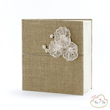 GUEST BOOK COUNTRY WITH LACE FLOWERS