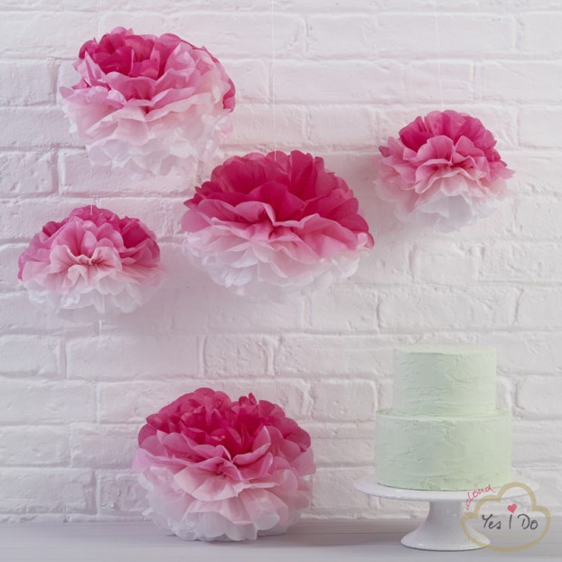 5 PINK OMBRE TISSUE PAPER POM POMS