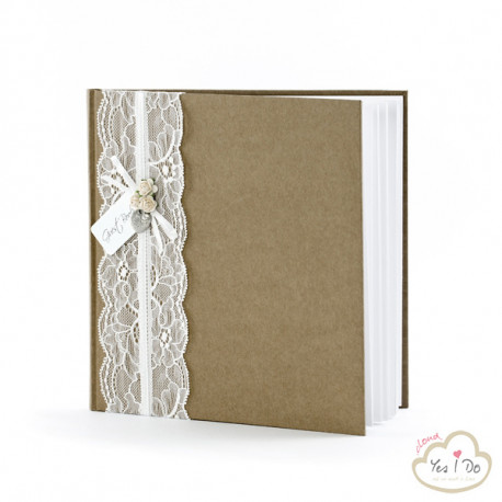 GUEST BOOK COUNTRY CHIC CON PIZZO E ROSELLINE