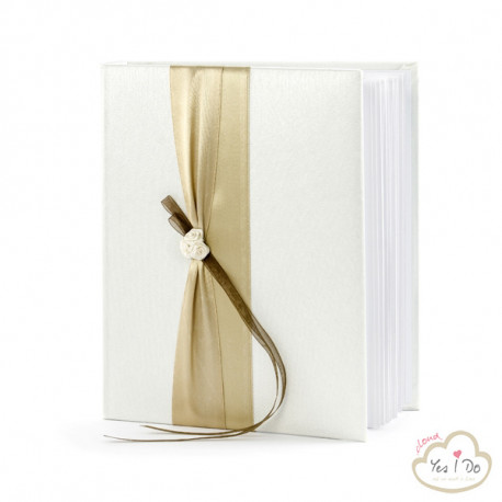 GUEST BOOK  WITH GOLD BAND AND ROSELLINE