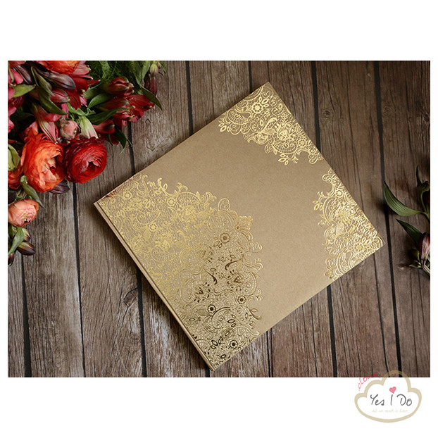 VINTAGE GUEST BOOK WITH GOLDEN ORNAMENTS