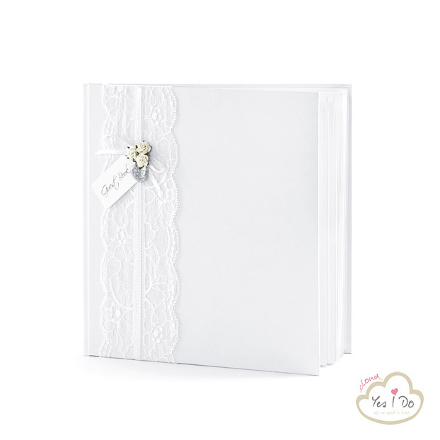 WHITE GUEST BOOK WHIT LACE AND ROSES