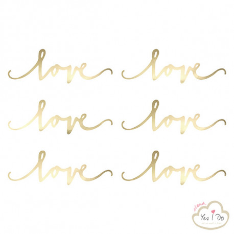 6 DECORAZIONI LOVE DORATE