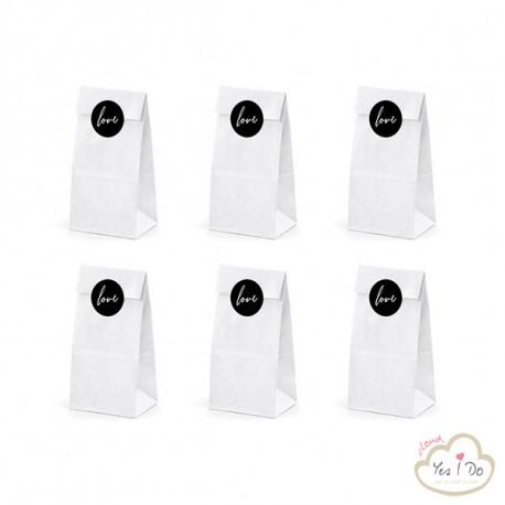 6 WHITE PAPER BAGS LOVE