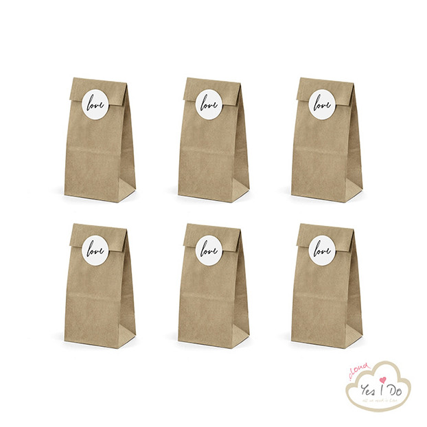 6 COUNTRY PAPER BAGS LOVE