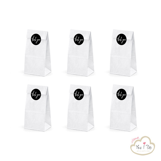 6 WHITE PAPER BAGS THANK YOU
