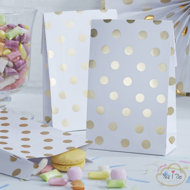 8 GOLD FOILED POLKA DOT PARTY BAGS