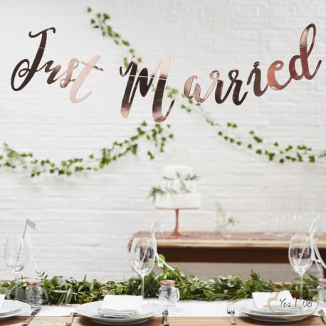 BANNER JUST MARRIED ORO ROSA