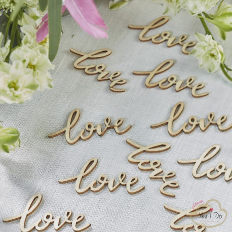 LOVE WORDS WOODEN CONFETTI