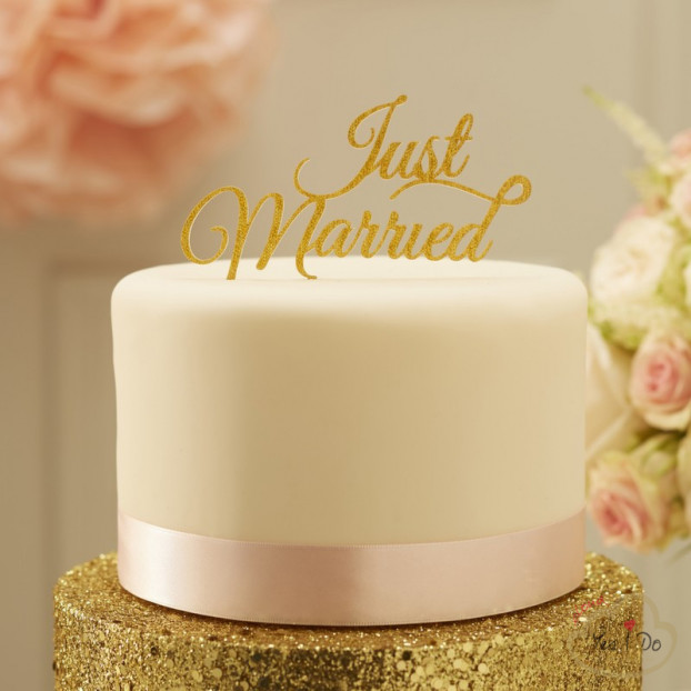CAKE TOPPER JUST MARRIED GLITTERATO DORATO