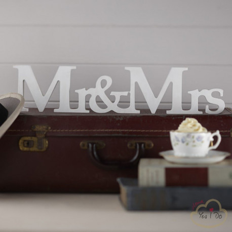 MR & MRS FREESTANDING WOODEN SIGN