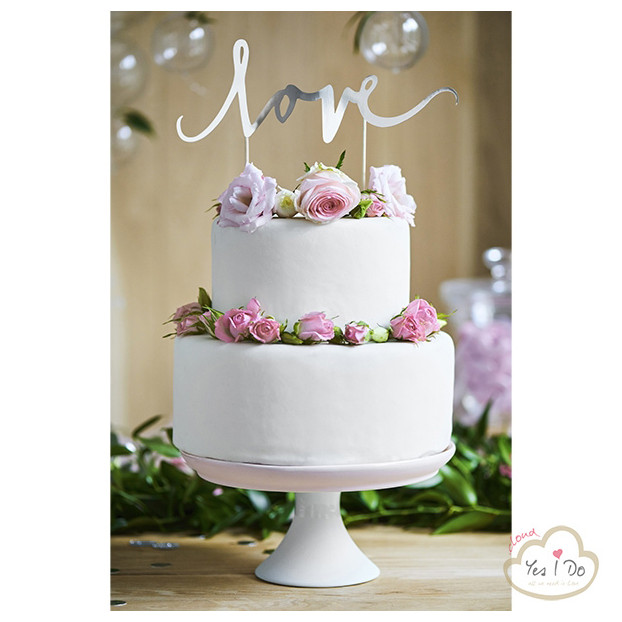 CAKE TOPPER LOVE ARGENTO