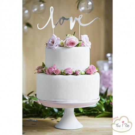 SILVER LOVE CAKE TOPPER