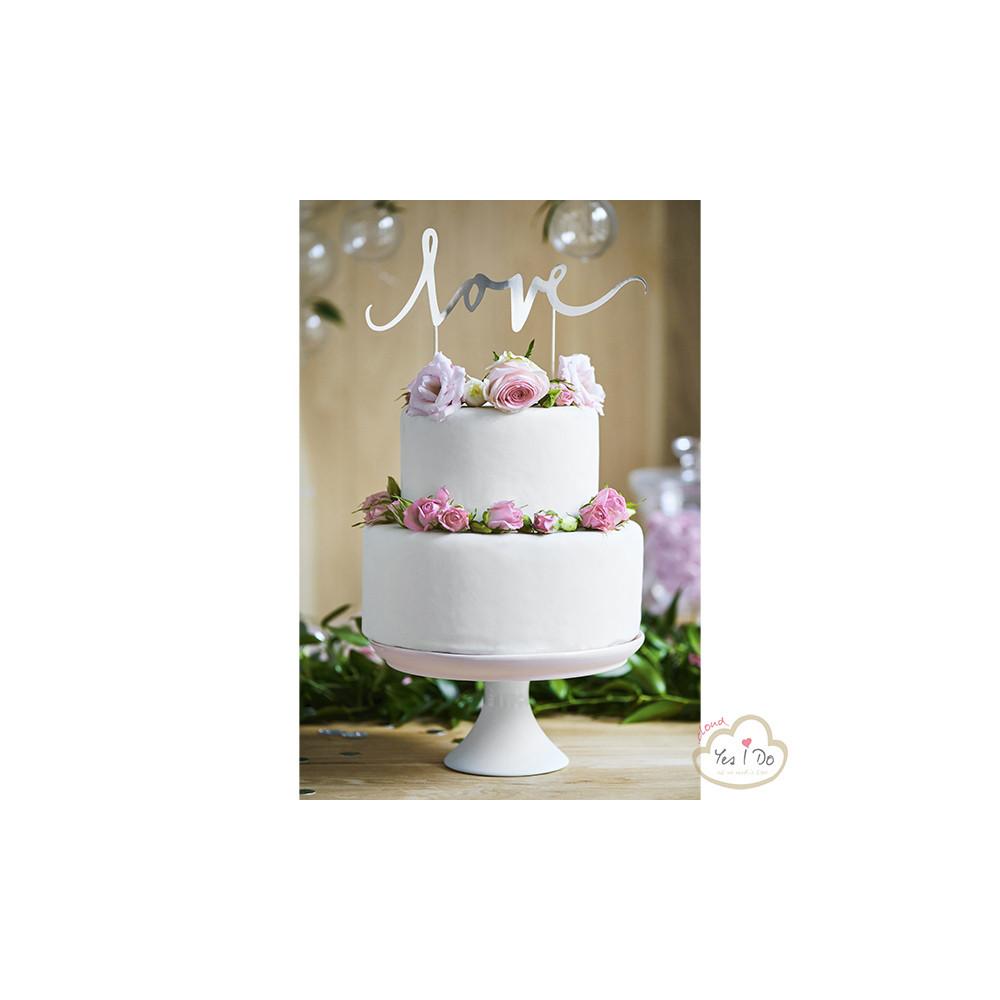 SILVER LOVE CAKE TOPPER - Yesido.cloud