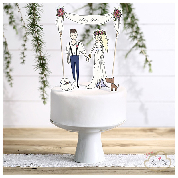 CAKE TOPPER MY LOVE CON CANE E GATTO