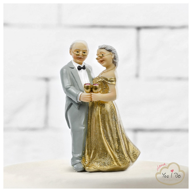 GOLD ANNIVERSARY CAKE TOPPER