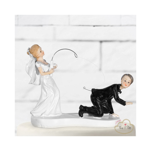 NEWLY WED WITH A FISHING ROD CAKE TOPPER