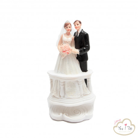 BRIDE AND GROOM AT THE BALCONY CAKE TOPPER