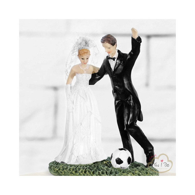 NEWLYWEDS CAKE TOPPER WITH A SOCCER BALL