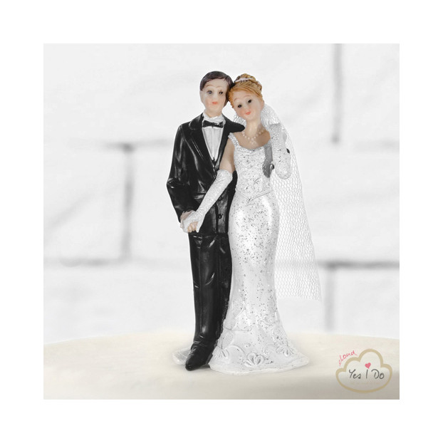 HOLDING HAND NEWLYWEDS CAKE TOPPER