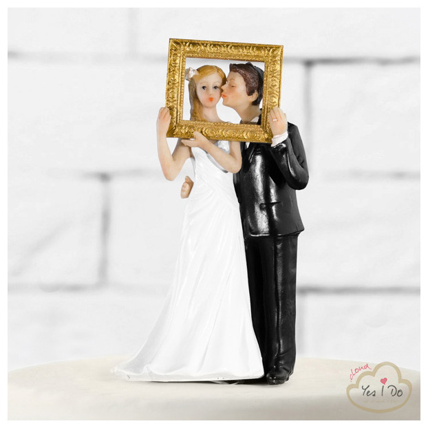 NEWLY WEDS IN A GOLD PHOTO FRAME CAKE TOPPER