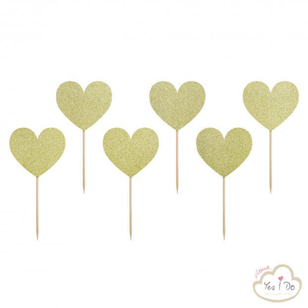 6 CUPCAKE TOPPERS GOLD GLITTERY HEART
