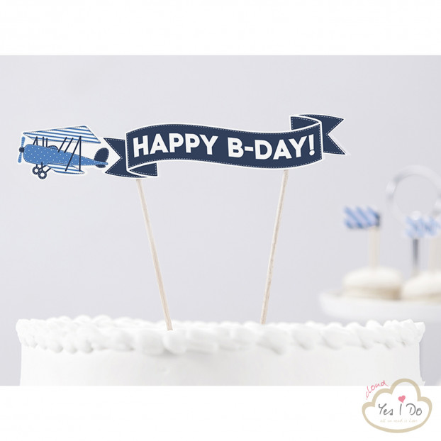 CAKE TOPPER HAPPY BIRTHDAY LITTLE PLANE