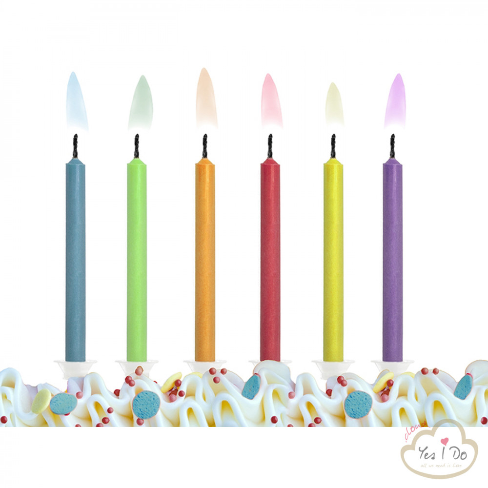 6 Candles With Colored Flame Yesido Cloud