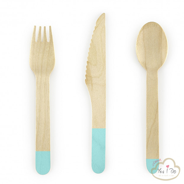 SET DI 18 POSATE IN LEGNO TIFFANY BLUE