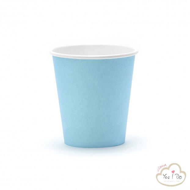 6 SKY-BLUE PAPER CUPS