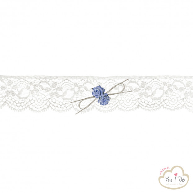 LACE GARTER WITH BLUE ROSES