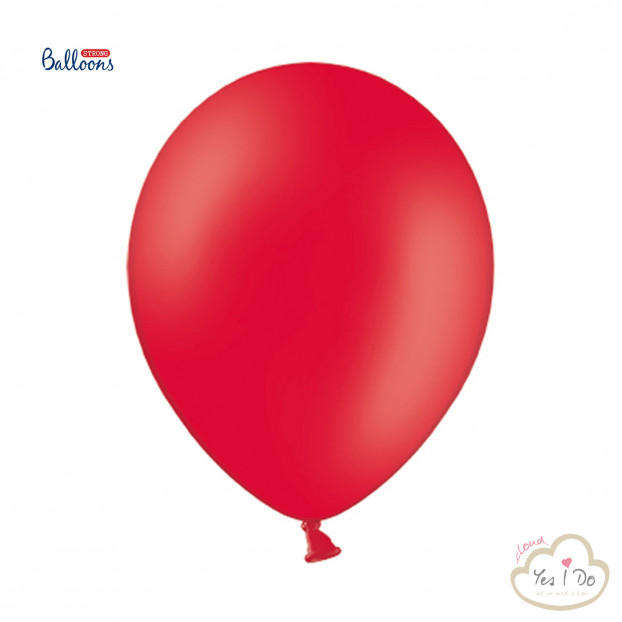 50 PASTEL POPPY RED BALLOONS