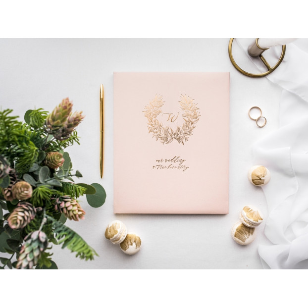 GUEST BOOK POWDER PINK AND GOLD