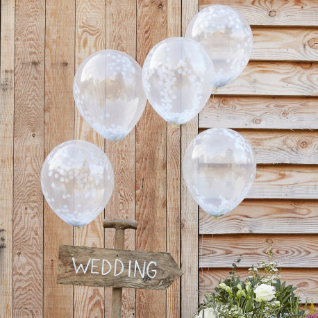WHITE CONFETTI FILLED BALLOONS