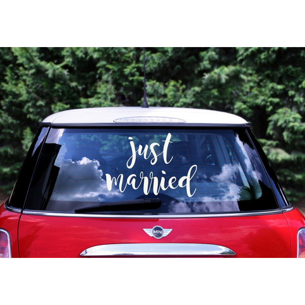 Wedding day car sticker - Mr. and Mrs.