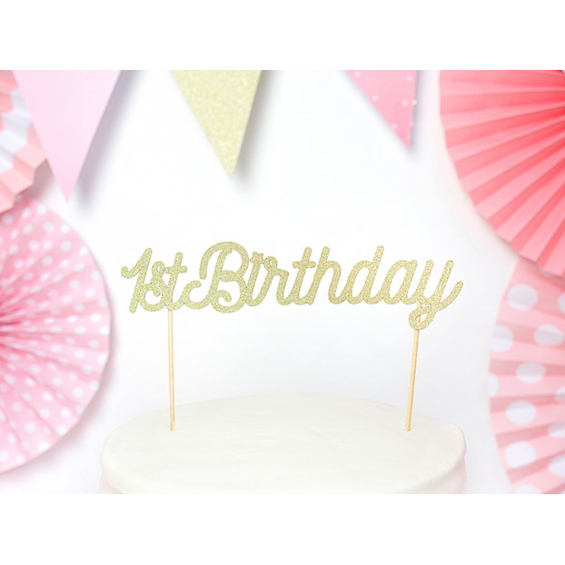 Cake Topper 1st Birthday - glittery gold