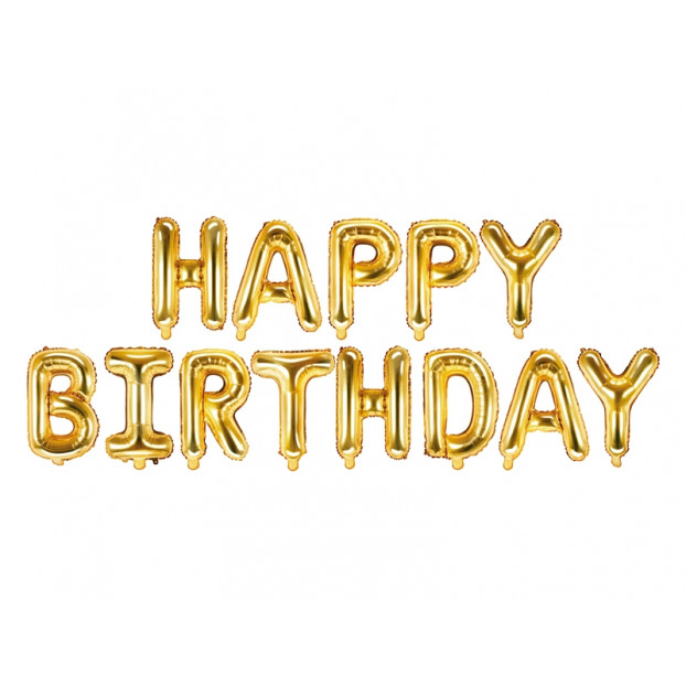 Foil balloon Happy Birthday - Gold