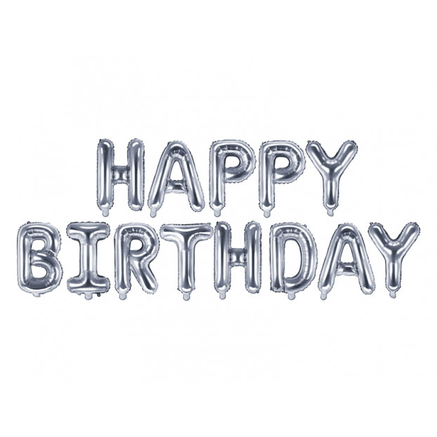 Foil balloon Happy Birthday - Silver
