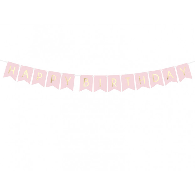 Banner Happy Birthday Light Pink and Gold