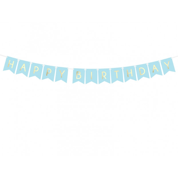Banner Happy Birthday Light Blue and Gold