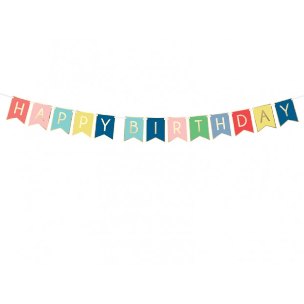 Banner Happy Birthday mix of colors and Gold