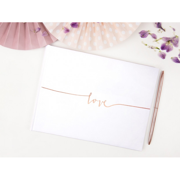 GUEST BOOK LOVE - WHITE AND ROSE GOLD