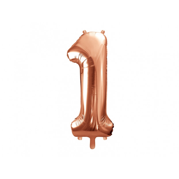 "Metallic foil balloon Number ""1"", rose gold, 86 cm."