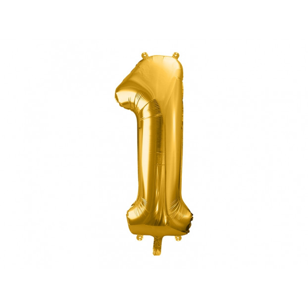 "Metallic foil balloon Number ""1"", gold, 86 cm."
